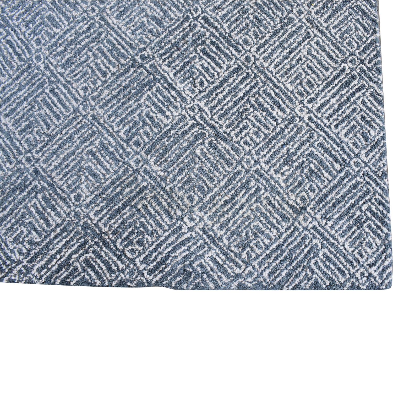 Crate & Barrel Crate & Barrel Curtis Indigo Wool-Blend Rug blue & white