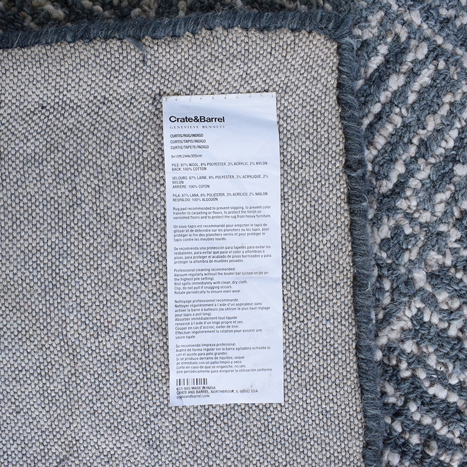 Crate & Barrel Crate & Barrel Curtis Indigo Wool-Blend Rug