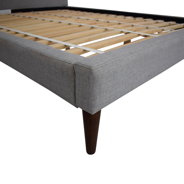 West Elm West Elm Grid Tufted Upholstered Tapered Leg Queen Bed Beds
