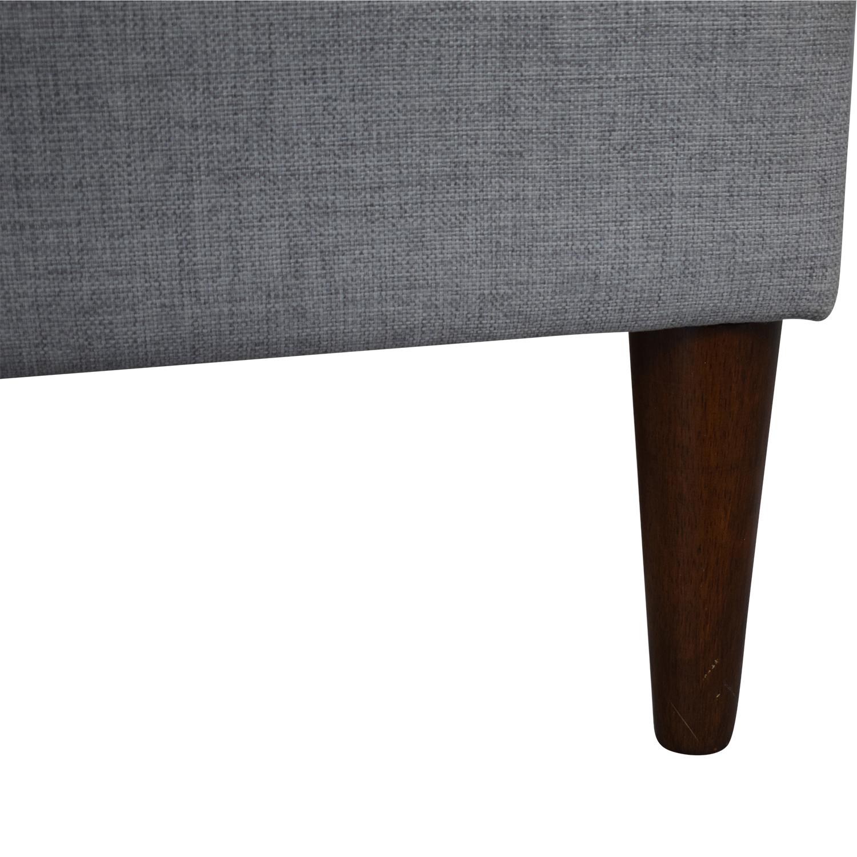 buy West Elm Grid Tufted Upholstered Tapered Leg Queen Bed West Elm Bed Frames