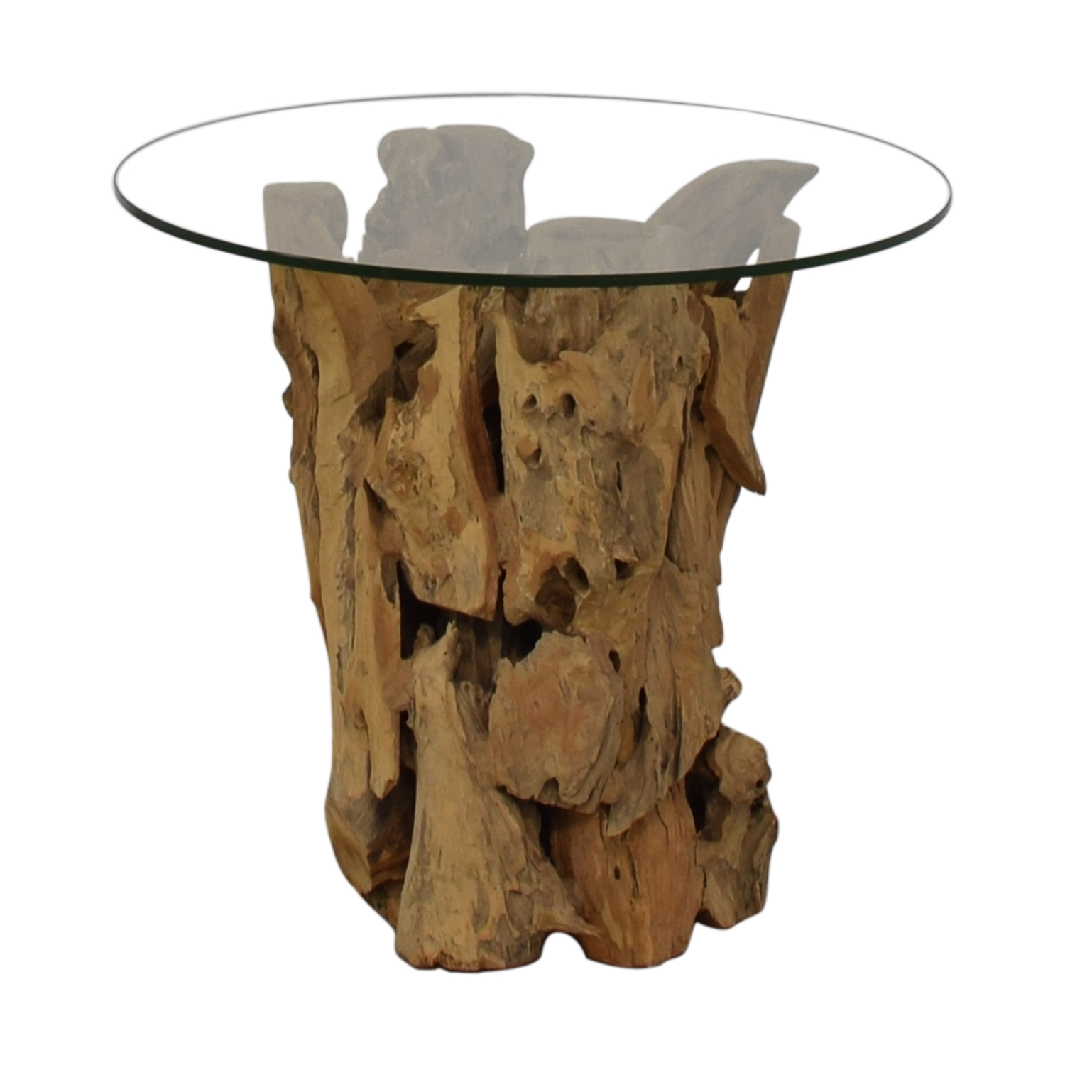 Picture of: 48 Off Crate Barrel Crate Barrel Driftwood End Table With Round Glass Top Tables