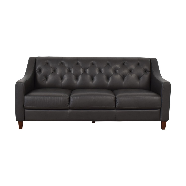 Macy's Macy's Leather Three-Seat Sofa dark grey