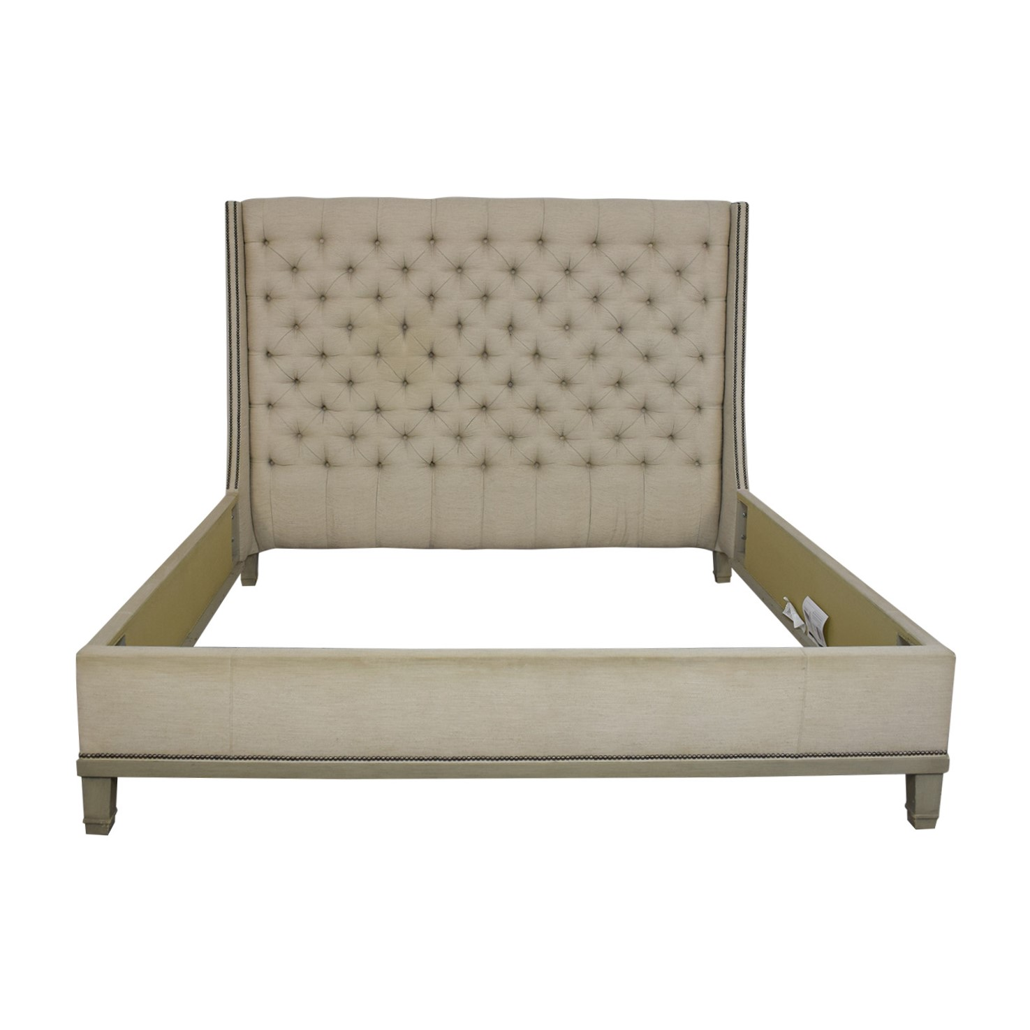 Horchow Horchow Tufted California King Bed tan
