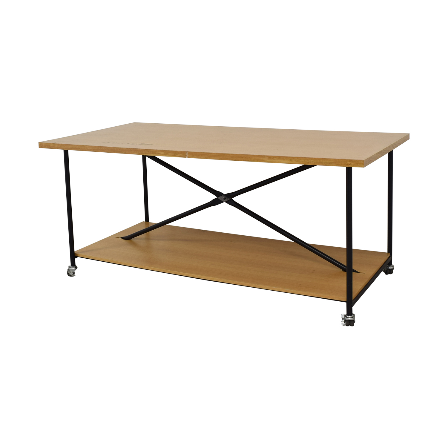 Wooden Work Table with Wheels on sale