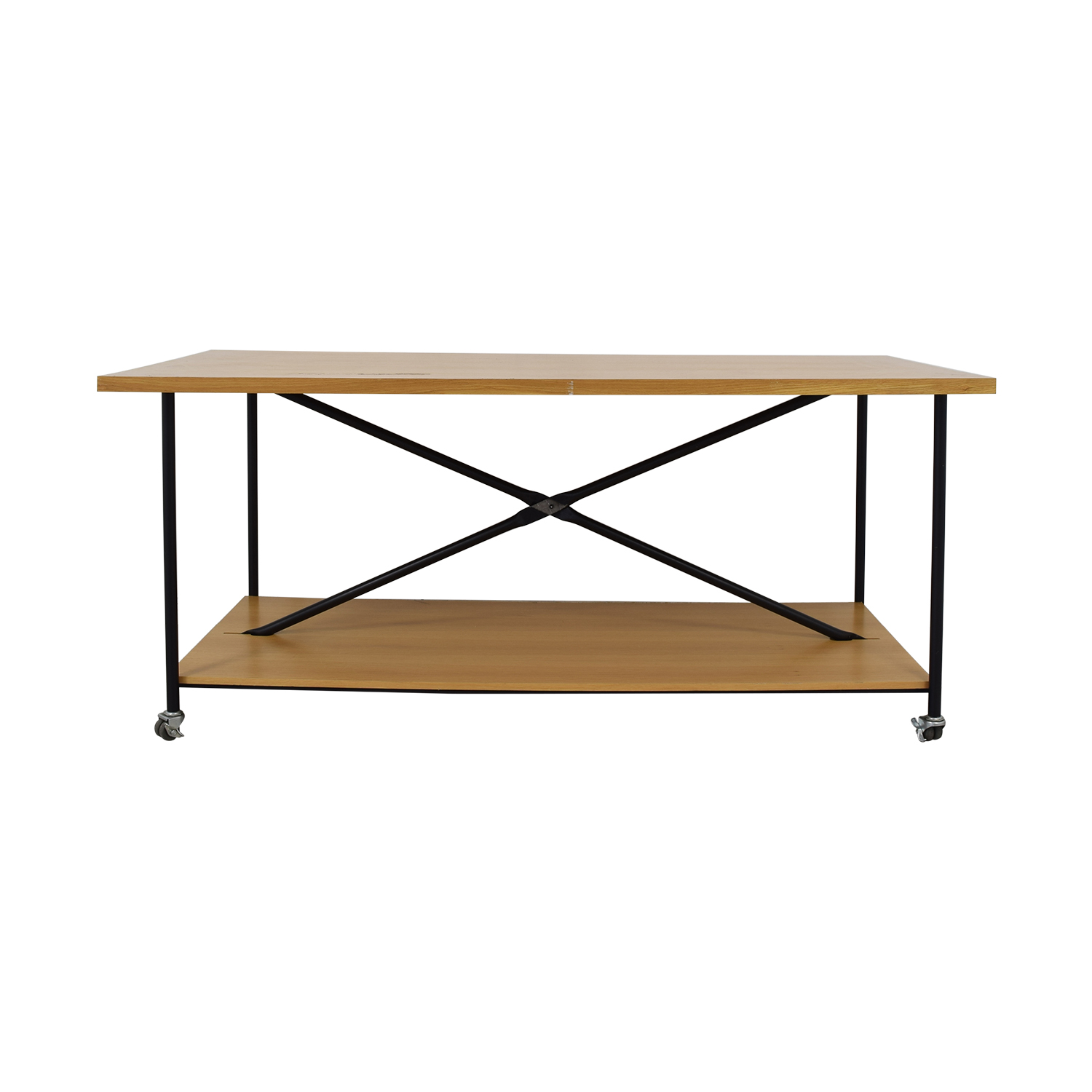 Wooden Work Table with Wheels brown