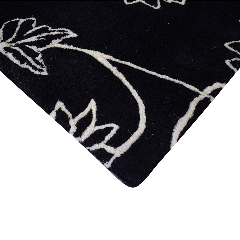 Black Floral Rug Decor