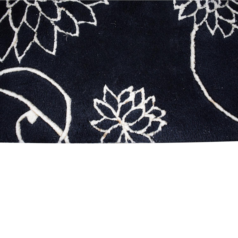 Black Floral Rug on sale
