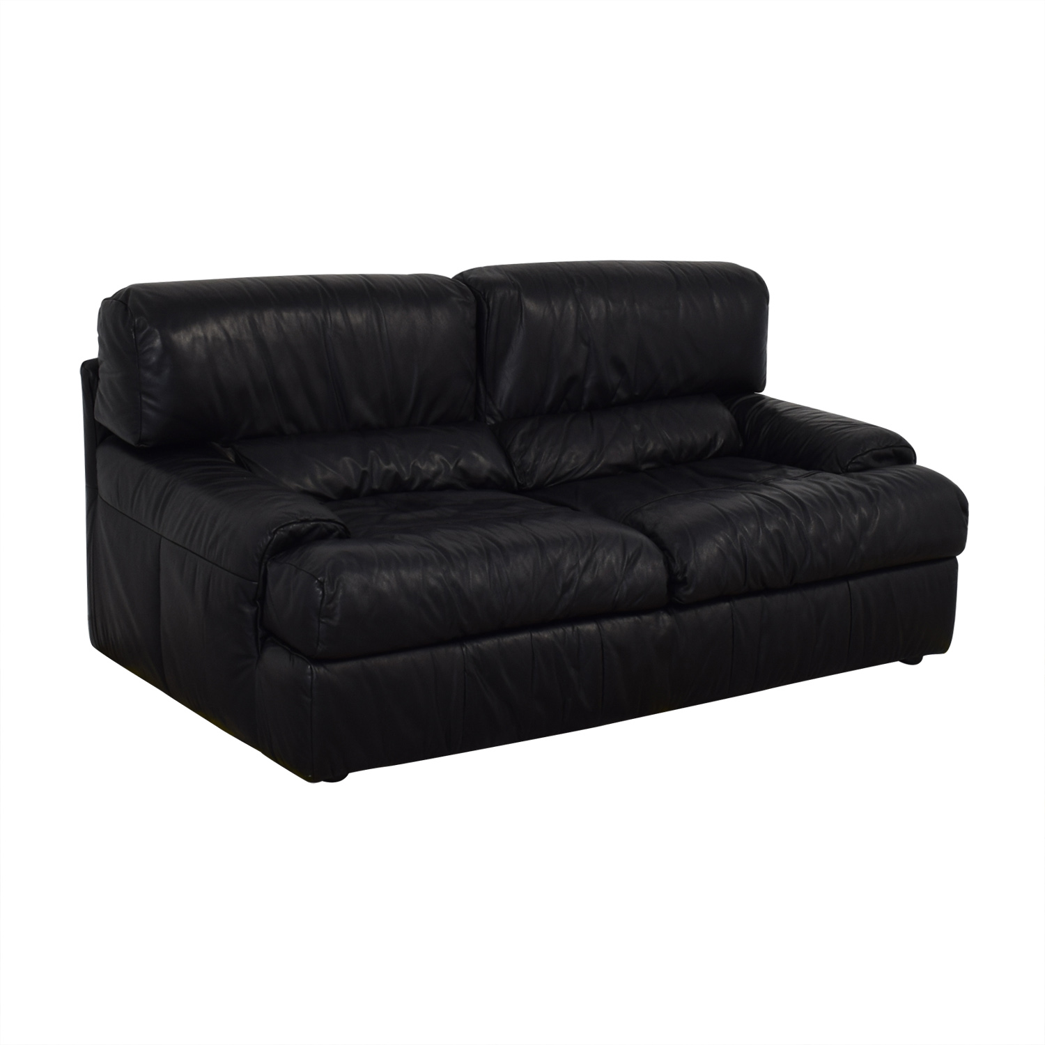 Natuzzi Natuzzi Black Leather Loveseat Sofas