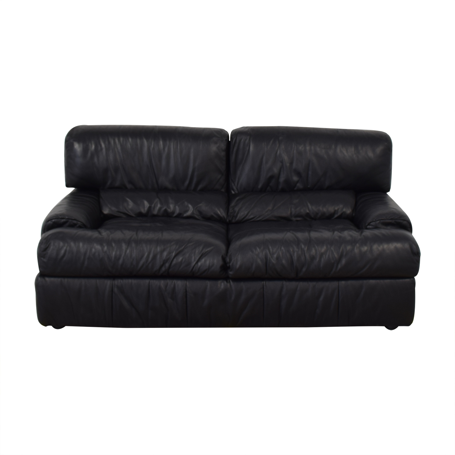 Natuzzi Natuzzi Black Leather Loveseat second hand