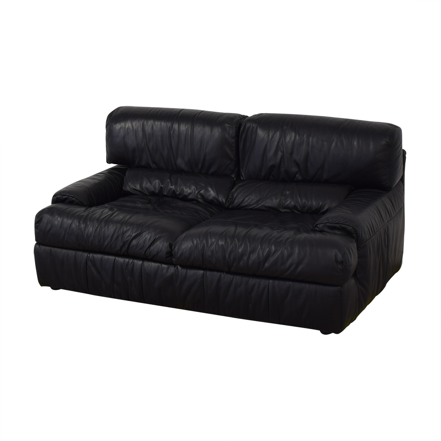Natuzzi Natuzzi Black Leather Loveseat for sale