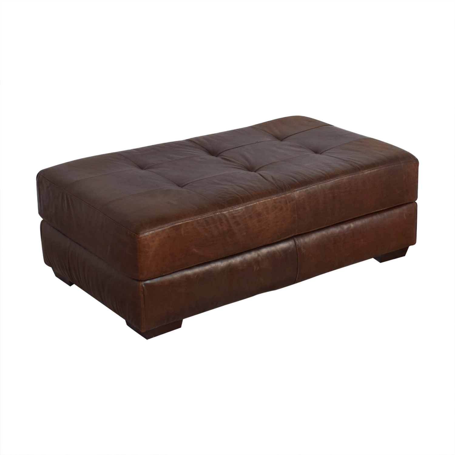 ABC Carpet & Home ABC Carpet & Home Leather Cocktail Ottoman on sale