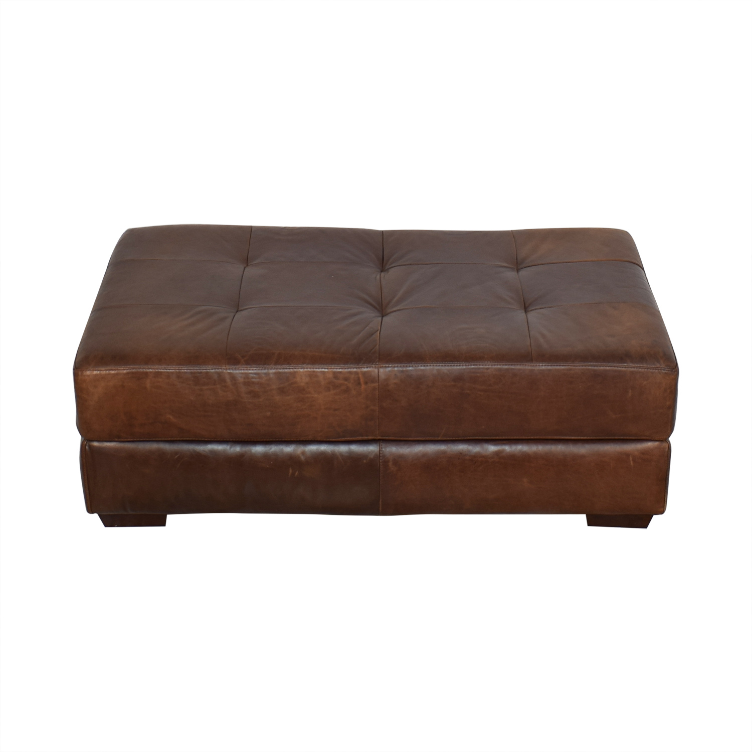 ABC Carpet & Home ABC Carpet & Home Leather Cocktail Ottoman dimensions