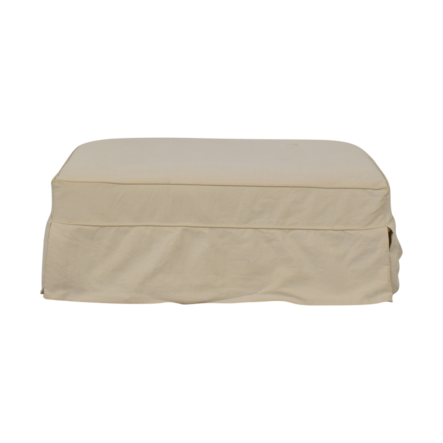 Slipcovered Ottoman Off White