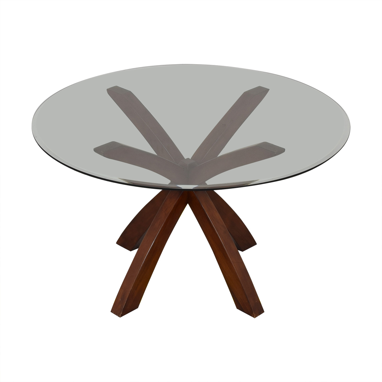 73% OFF   Glass And Wood Round Dining Table / Tables