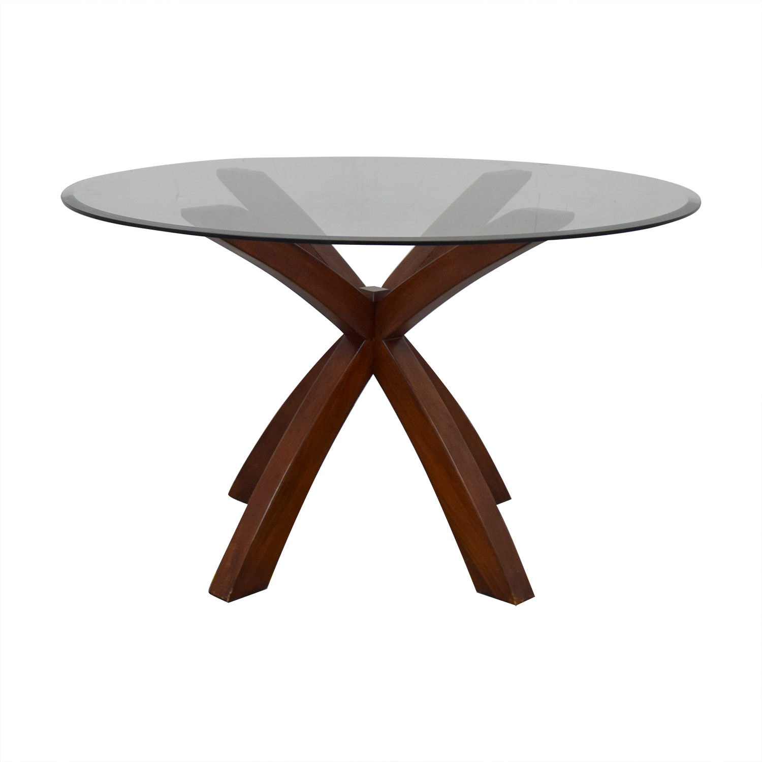 Glass and Wood Round Dining Table / Dinner Tables