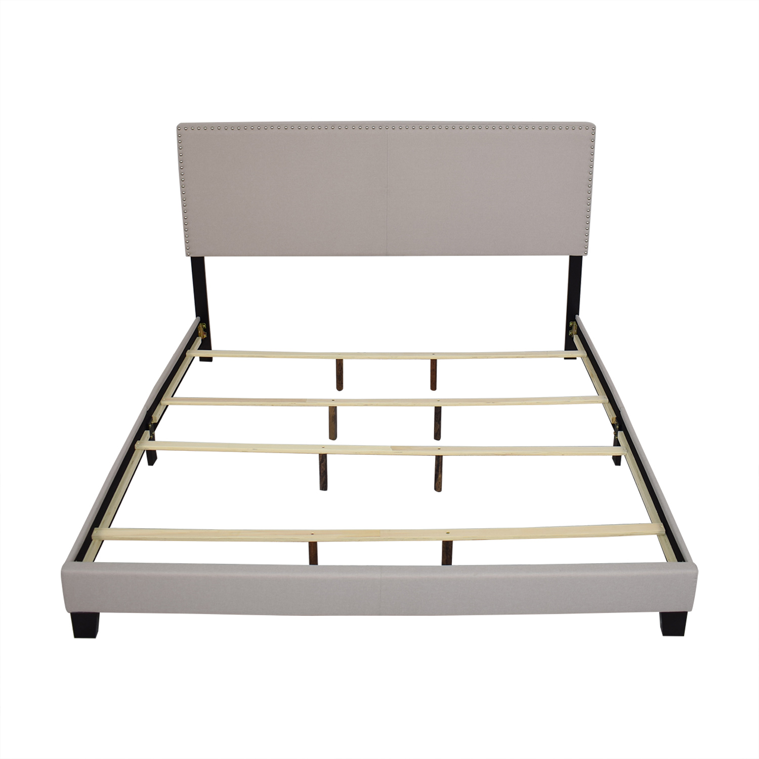 Raymour & Flanigan Platform King Linen Bed Raymour & Flanigan