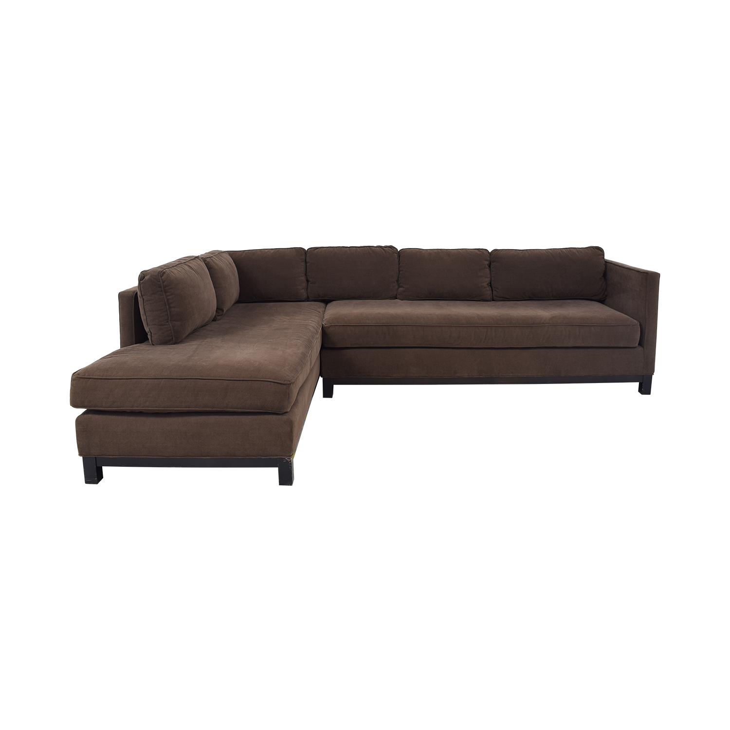 Mitchell Gold + Bob Williams Chocolate Microsuede Chaise Sectional Mitchell Gold + Bob Williams
