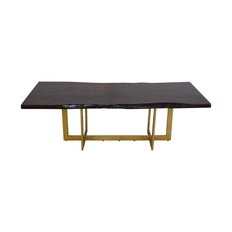 AllModern AllModern Everly Quinn Acacia Wood Slab Table dark brown & gold