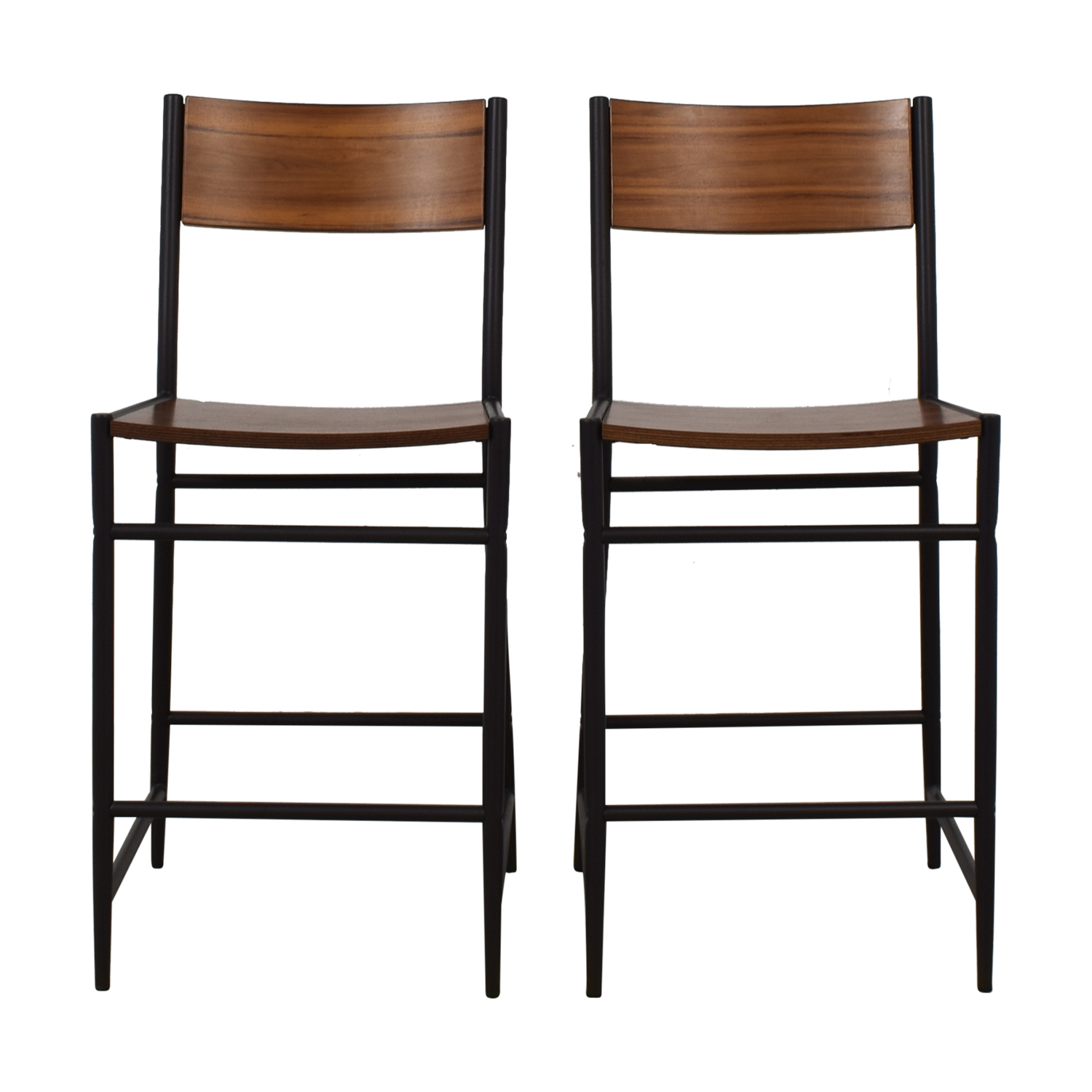 West Elm West Elm Acacia Counter Stools brown & black