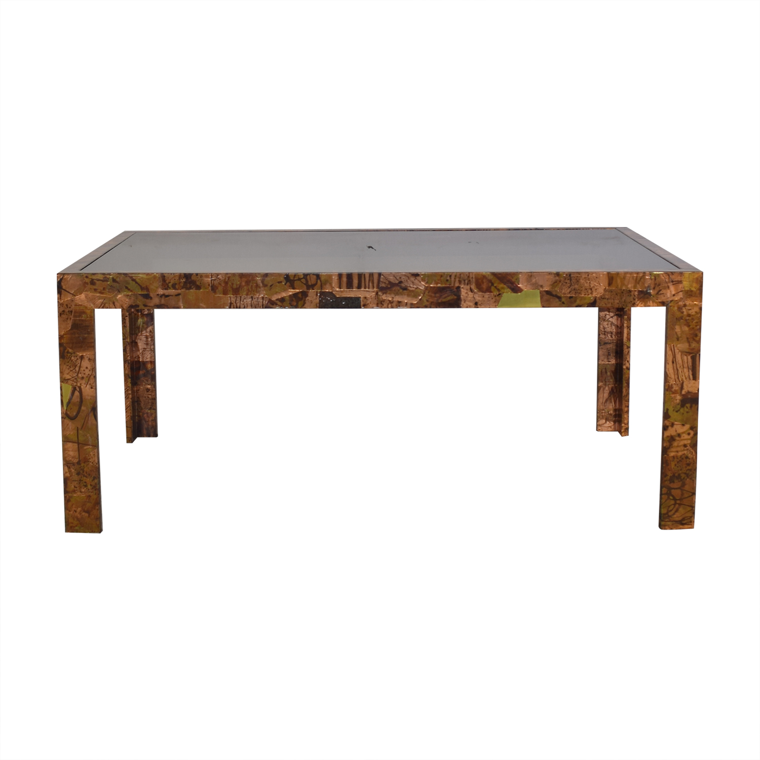 Parsons Style Glass Top Dining Table for sale