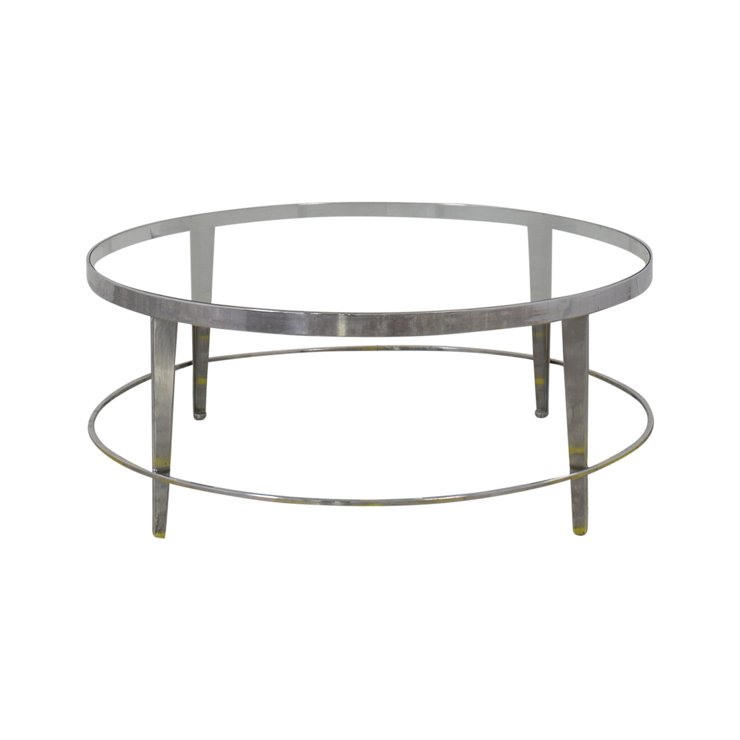 Bloomingdale's Bloomingdale's Round Glass Top Coffee Table second hand