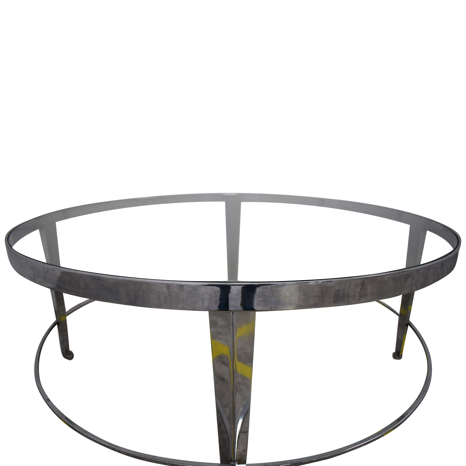Bloomingdale's Round Glass Top Coffee Table / Tables