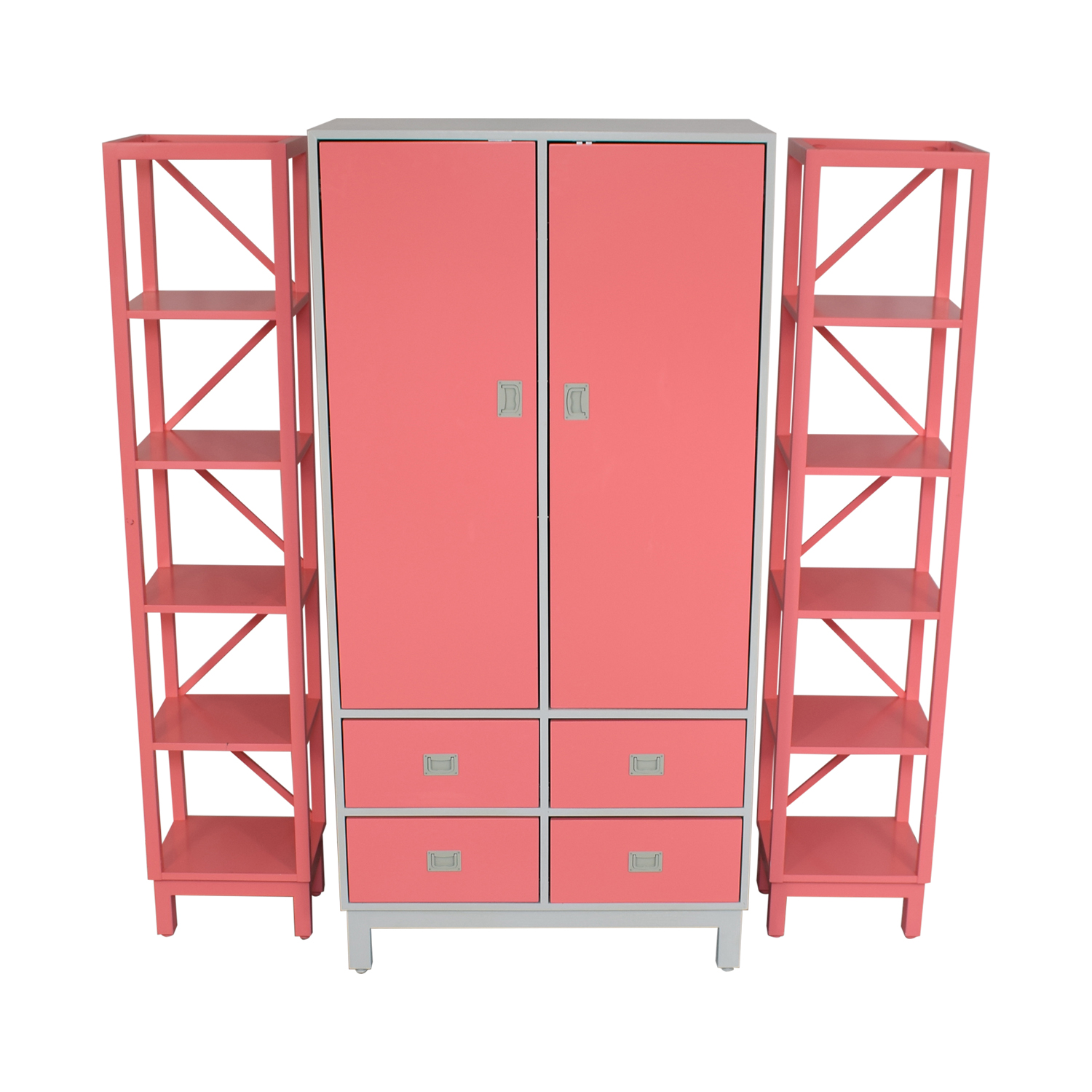 Ducduc Ducduc Campaign Armoire with Side Shelves pink and grey