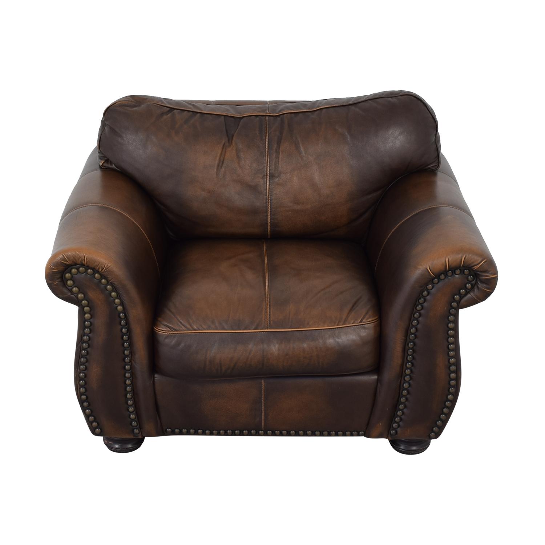shop Raymour & Flanigan Leather Chair Raymour & Flanigan