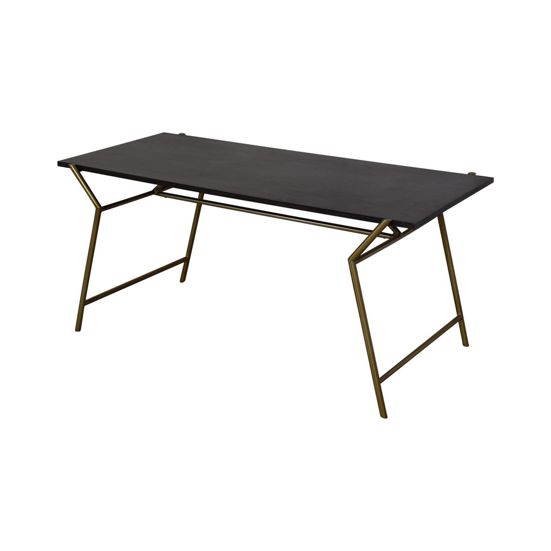 CB2 CB2 Flynn Desk dark brown and brass