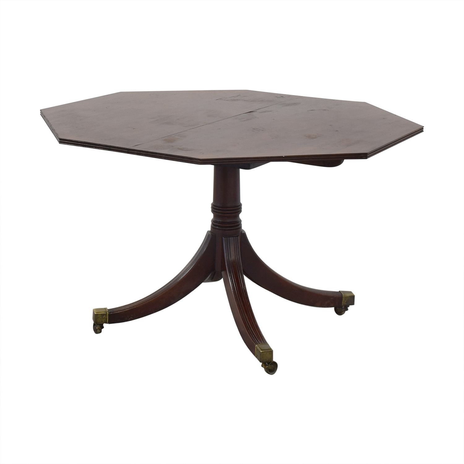 Round Vintage Mahogany Wooden Dining Room Table on sale
