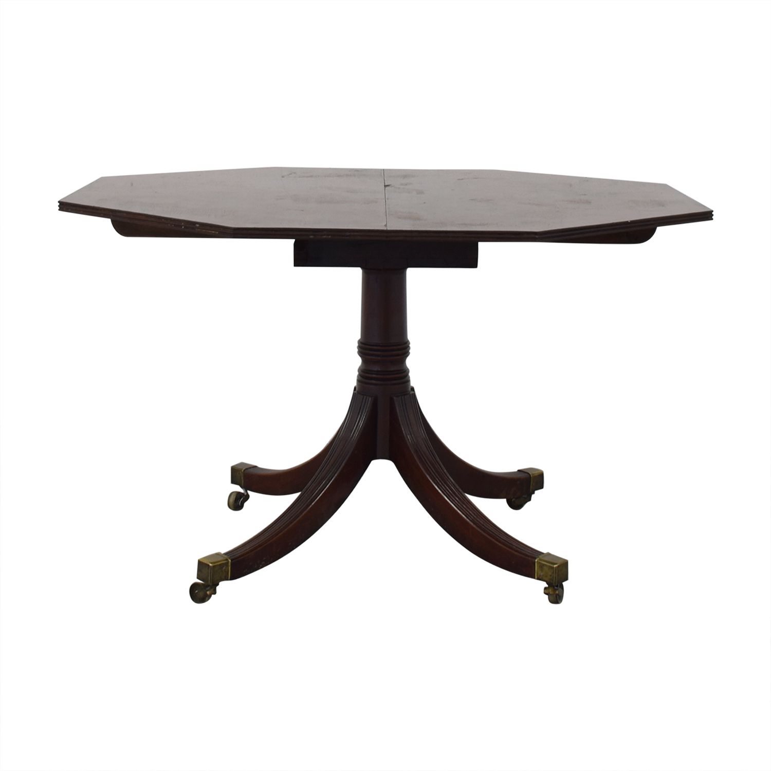 Round Vintage Mahogany Wooden Dining Room Table Brown