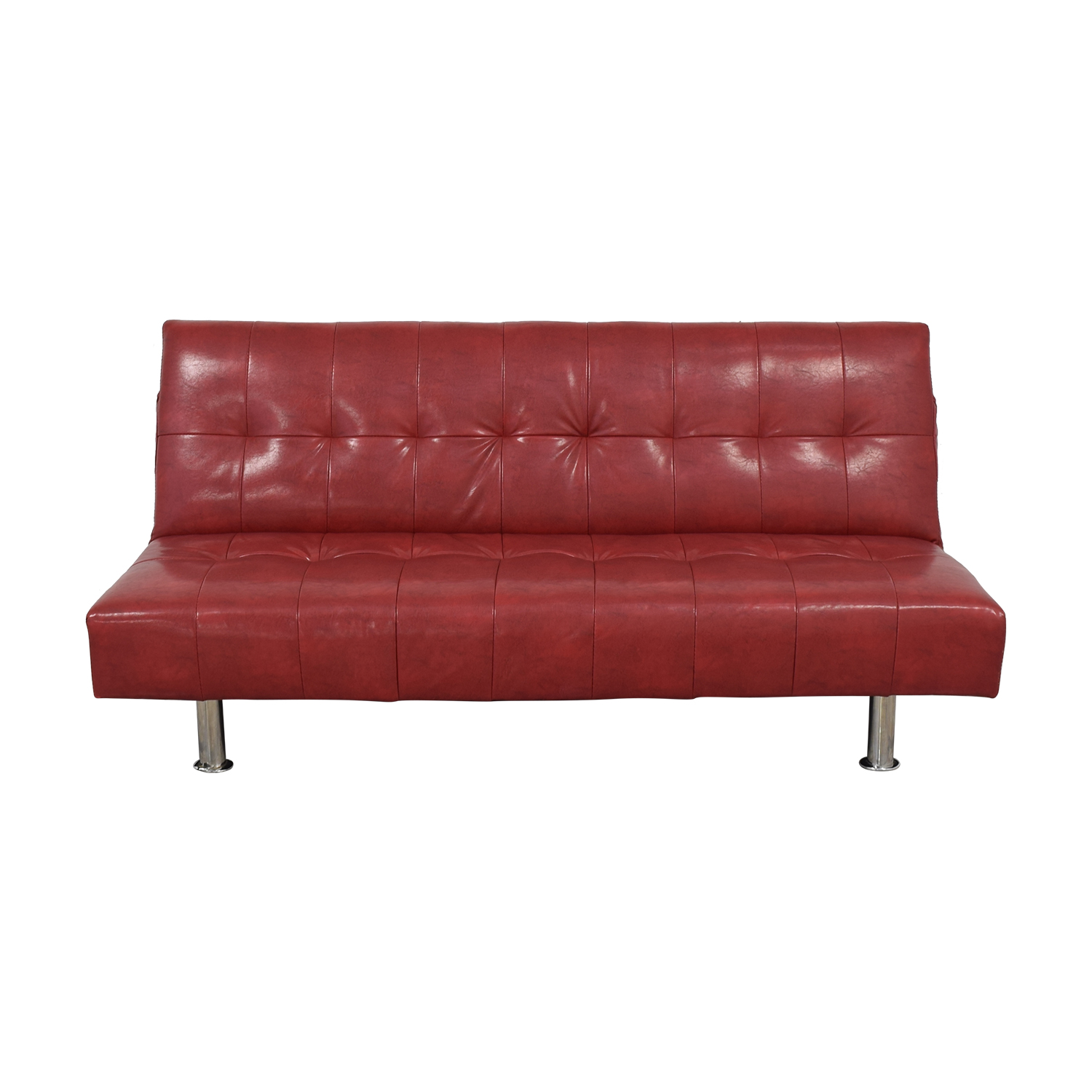 Macy's Red Faux Leather Sofa/Futon / Sofas