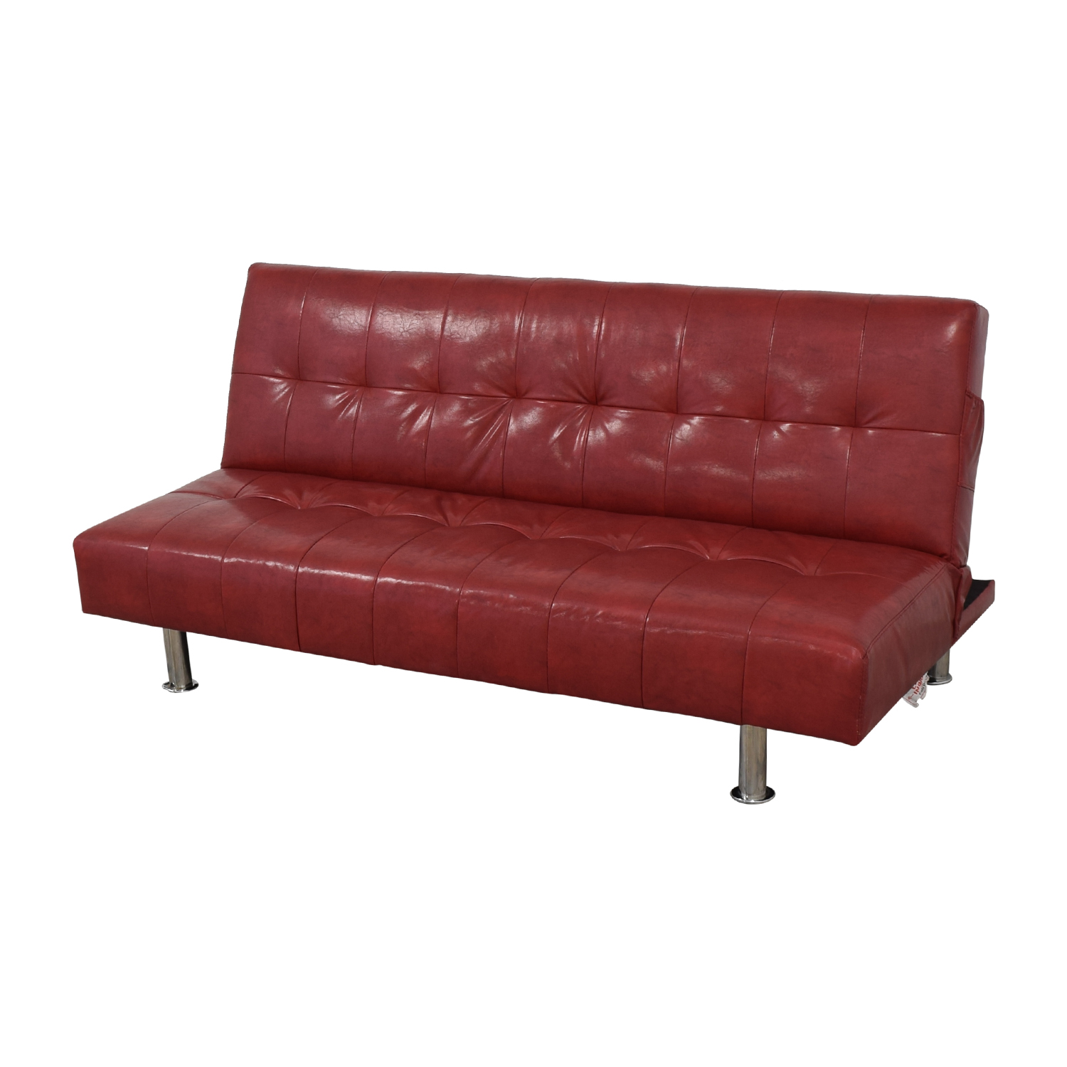 75% OFF - Macy\'s Macy's Red Faux Leather Sofa/Futon / Sofas