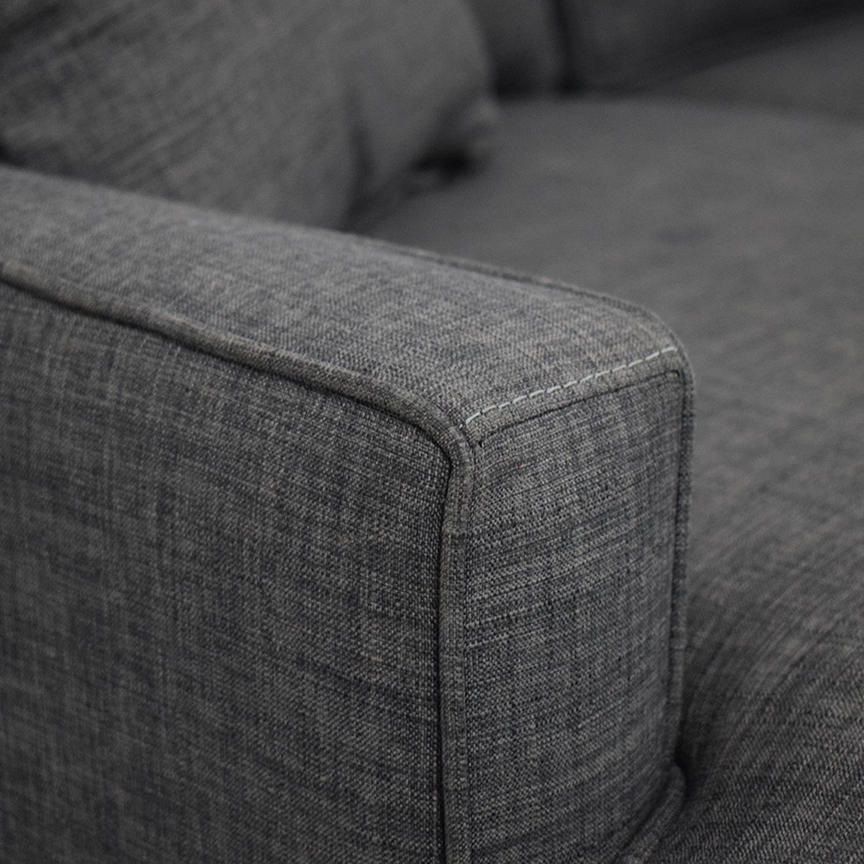 Macy's Macy's Keegan Fabric Reversible Chaise Sectional Sofa dark blue