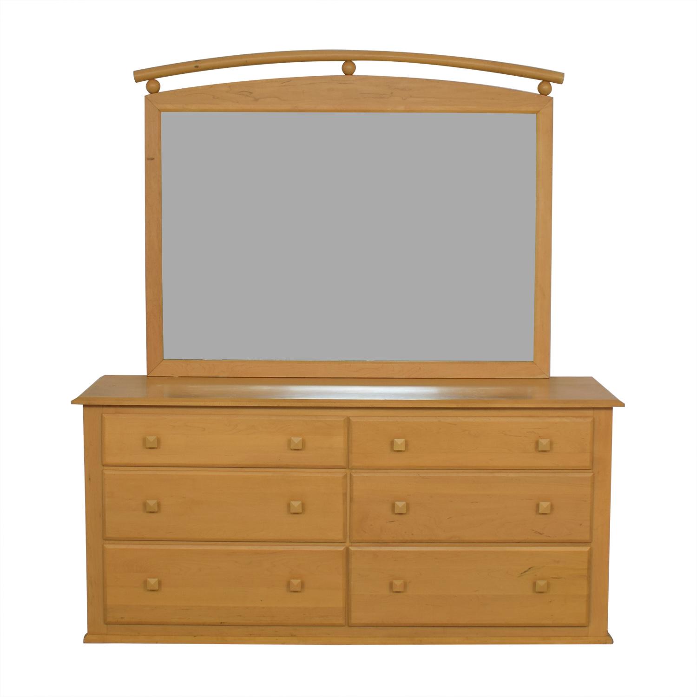 shop Ethan Allen Six-Drawer Dresser with Mirror Ethan Allen