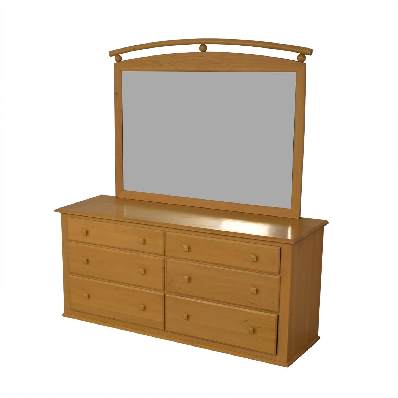 Ethan Allen Six-Drawer Dresser with Mirror sale