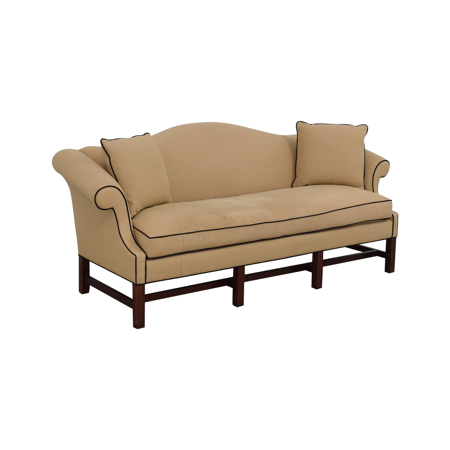 Upholstered Camel Back Sofa on sale