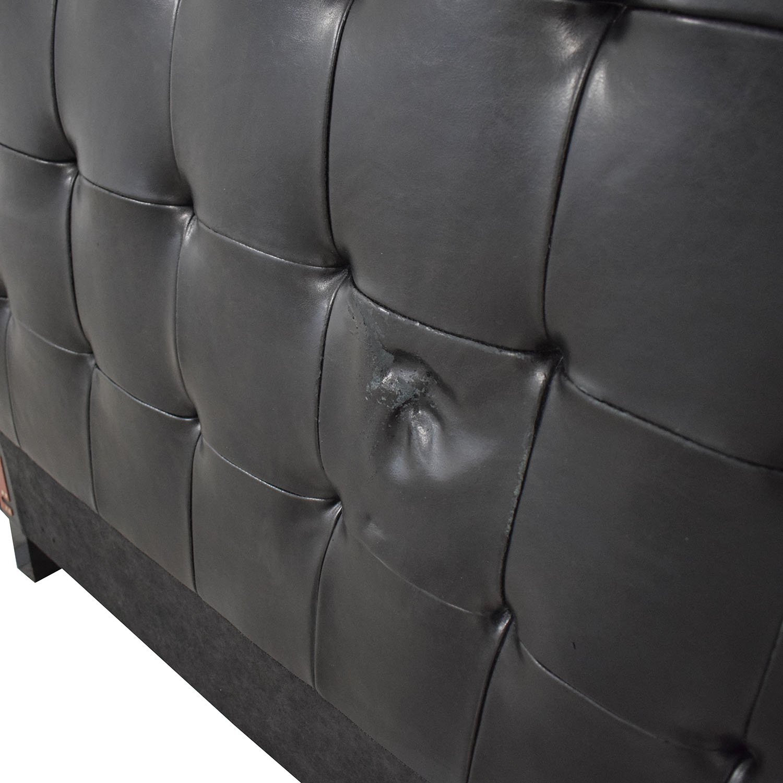 Pasha Pasha Tufted Black Leather Queen Headboard on sale