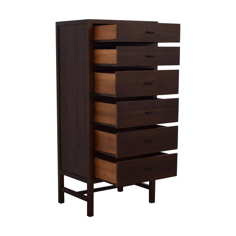 Tall Modern Six Drawer Dresser dark brown