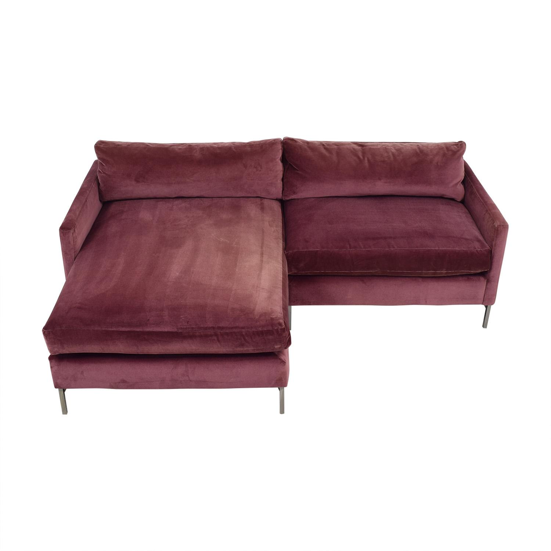 ABC Carpet & Home ABC Carpet & Home Cobble Hill Velvet Two Piece Sectional Sofa purple