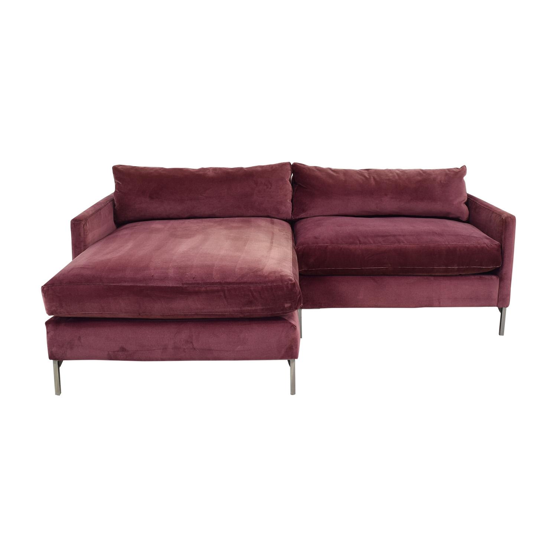 shop ABC Carpet & Home Cobble Hill Velvet Two Piece Sectional Sofa ABC Carpet & Home Sectionals
