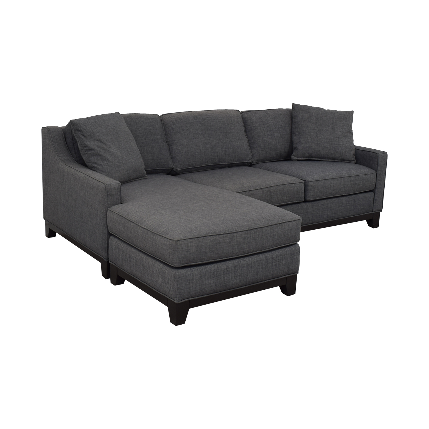 Macy's Macy's Keegan Fabric Reversible Chaise Sectional Sofa dark grey