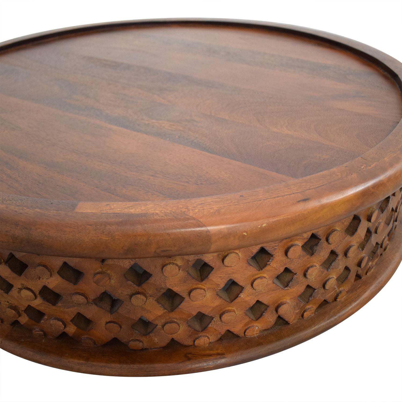 West Elm West Elm Carved Wood Coffee Table on sale