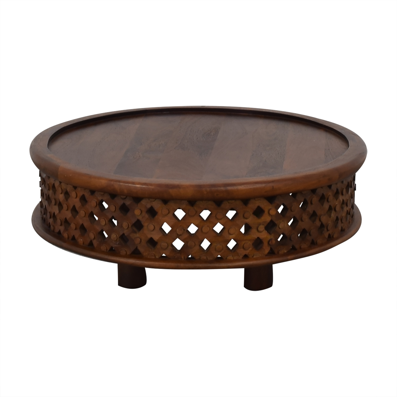 West Elm West Elm Carved Wood Coffee Table on sale
