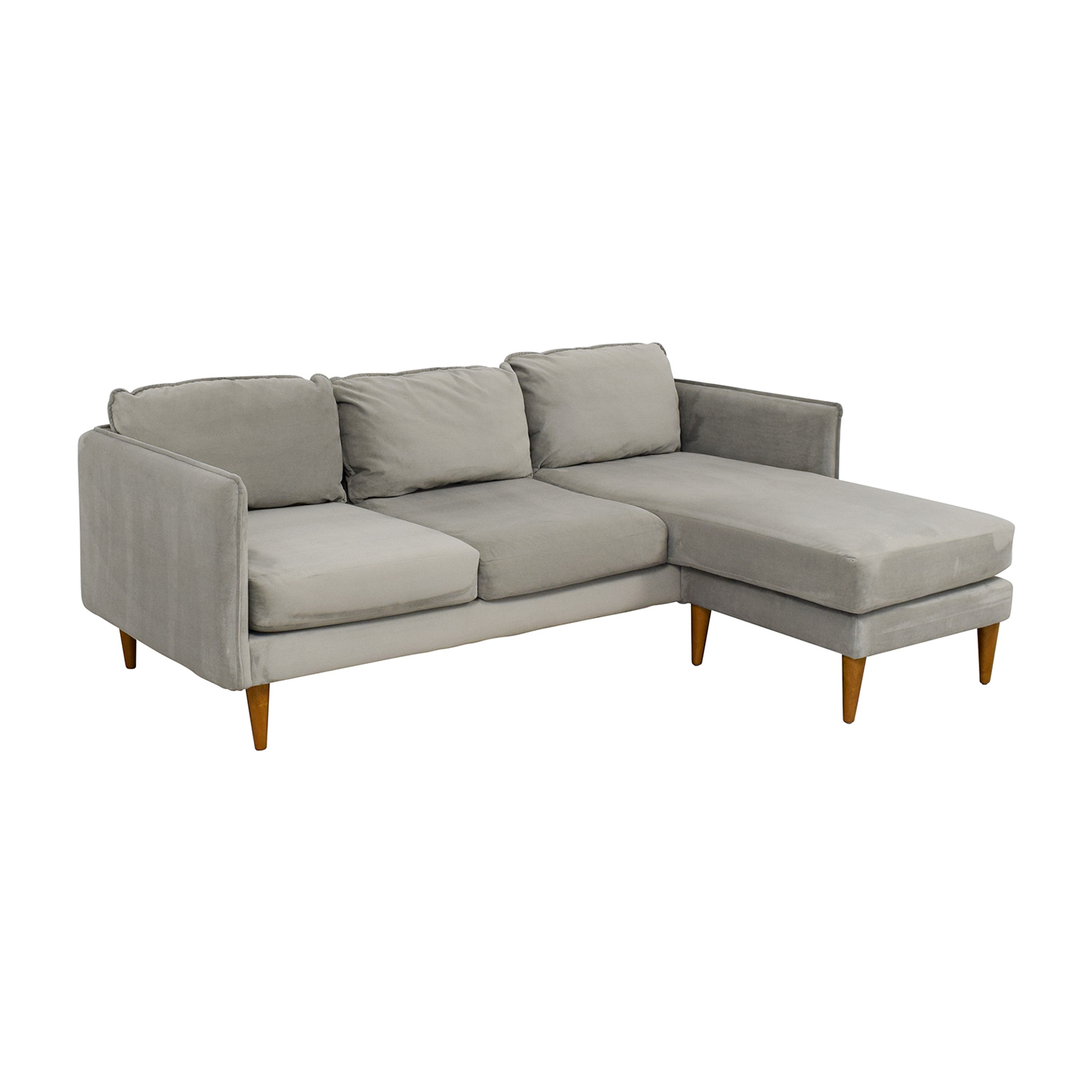 West Elm West Elm Mid Century Chaise Sectional Sofa grey