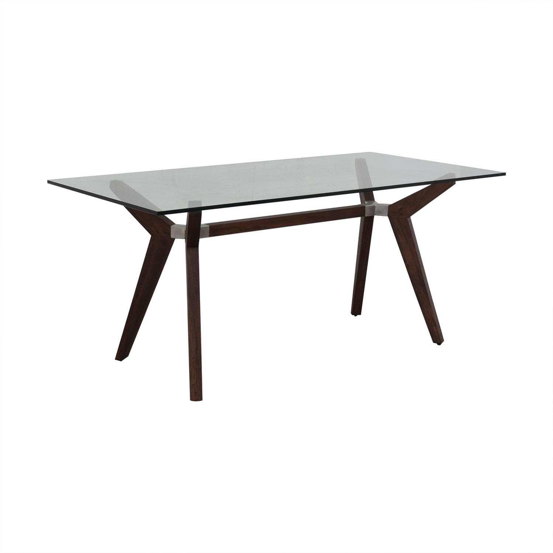 Crate & Barrel Crate & Barrel Strut Glass Top Table Dinner Tables