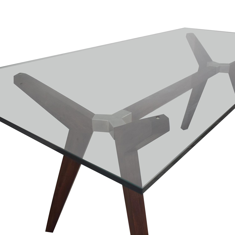 Crate & Barrel Strut Glass Top Table / Tables