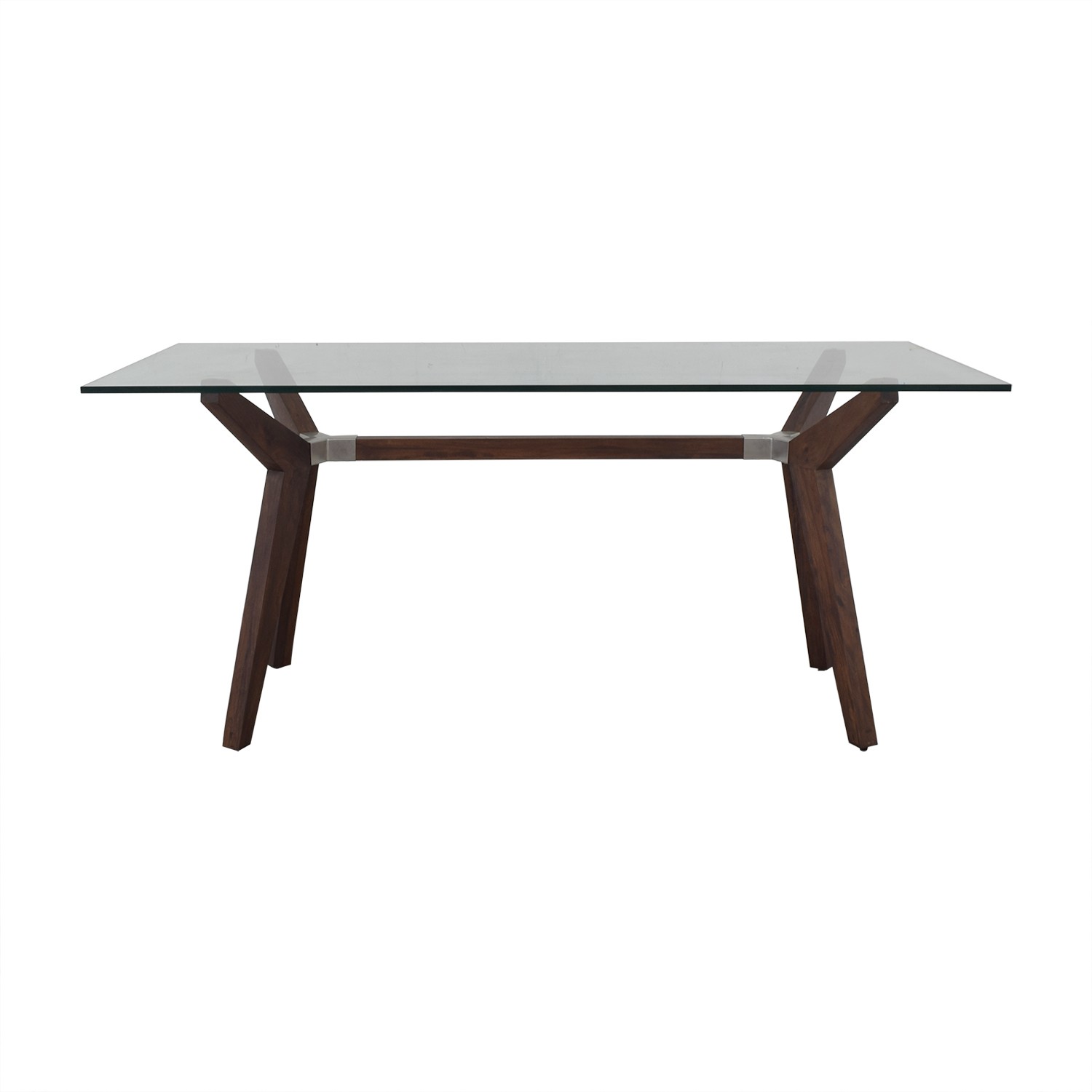 Crate & Barrel Strut Glass Top Table / Tables