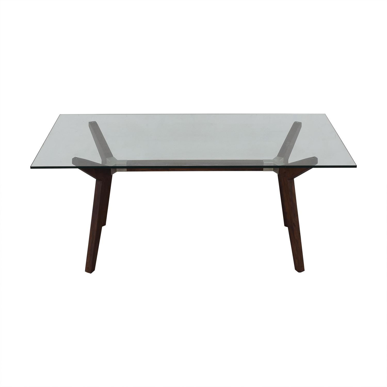 Crate & Barrel Crate & Barrel Strut Glass Top Table nyc