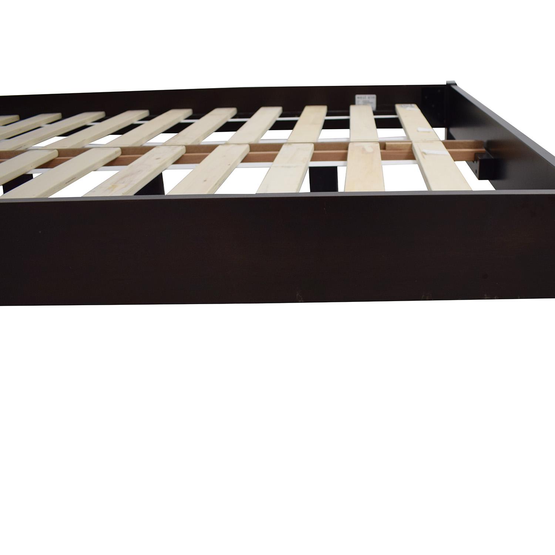 West Elm West Elm Low Wood Cutout Chocolate Veneer Bed Frame and Headboard on sale
